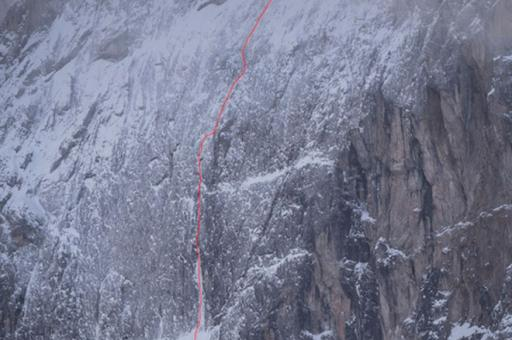 David Lama Spindrift on the north face of Laserz Lienzer Dolomites Austria